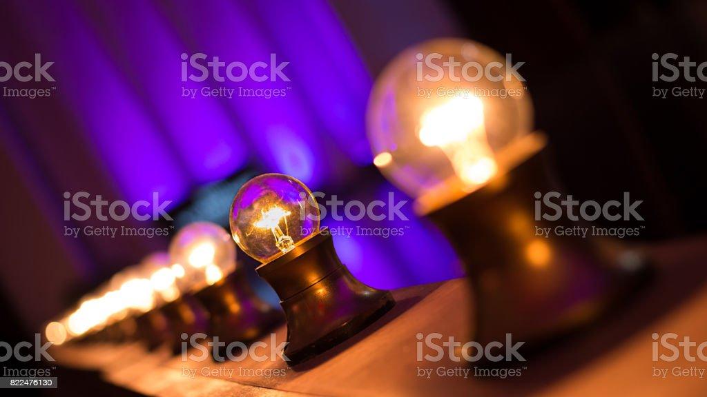 Light Bulbs On Stage stock photo