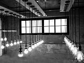 Light bulbs on vintage gray background