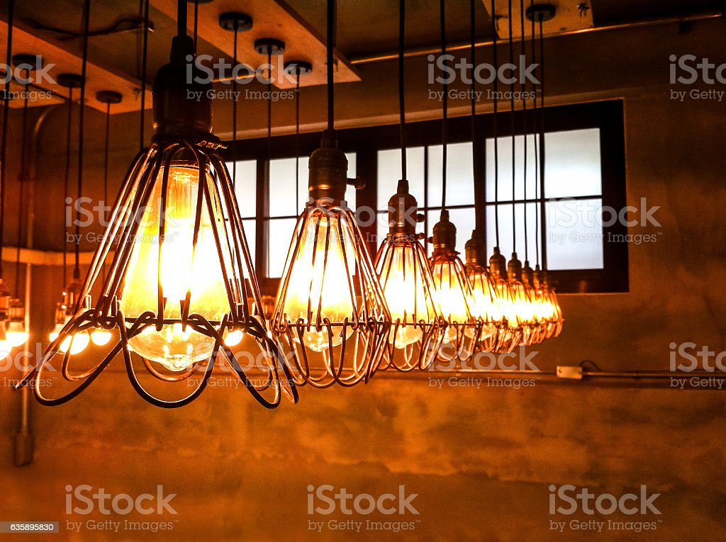 Light bulbs on vintage gray background stock photo