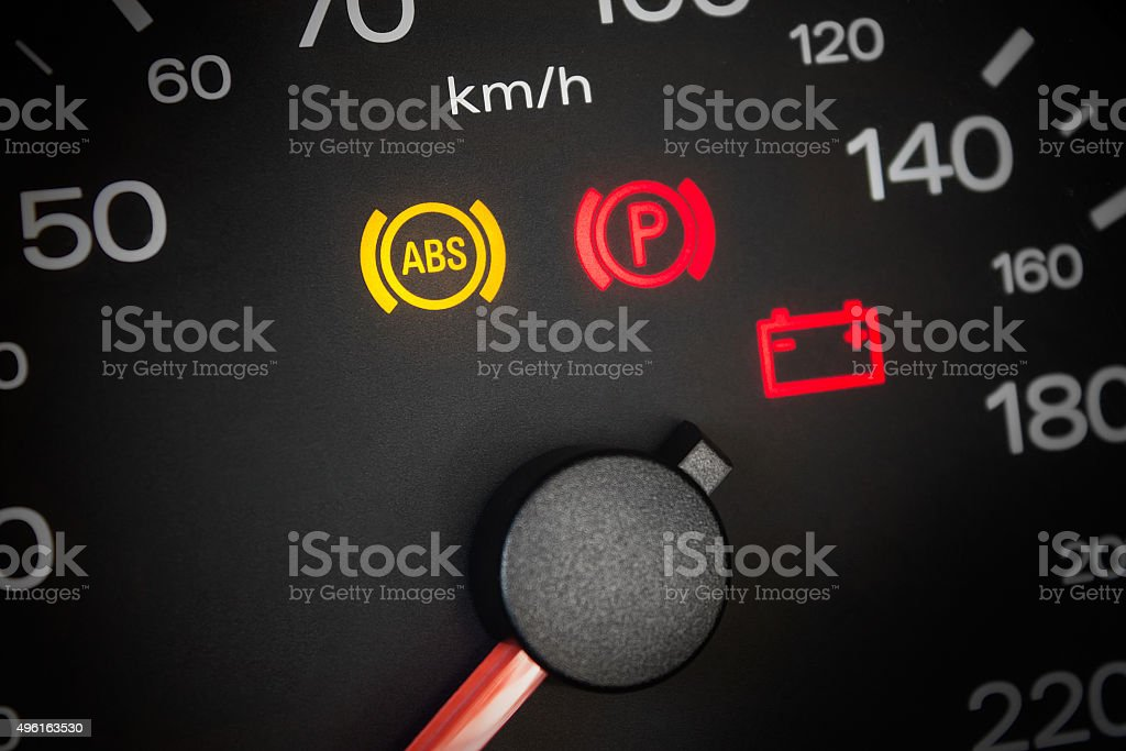 ABS light. Car dashboard in closeup stock photo