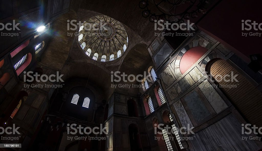Light Casting on the Wall of Kalenderhane Mosque royalty-free stock photo