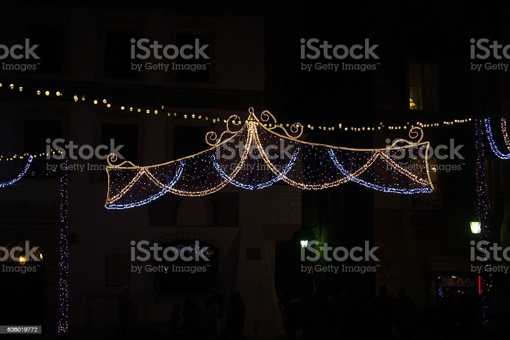 Light colored Christmas decorations stock photo