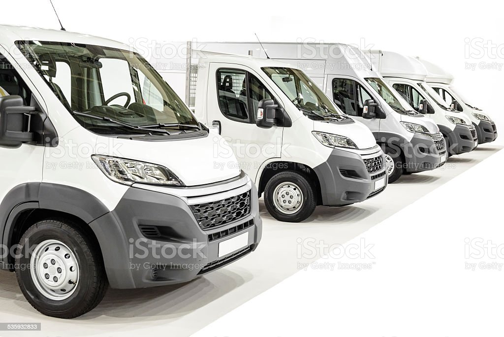 Light Commercial Vehicles in a row stock photo