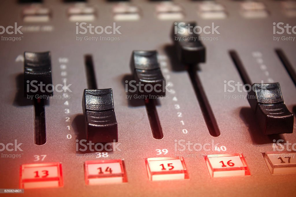 Light console fader button stock photo