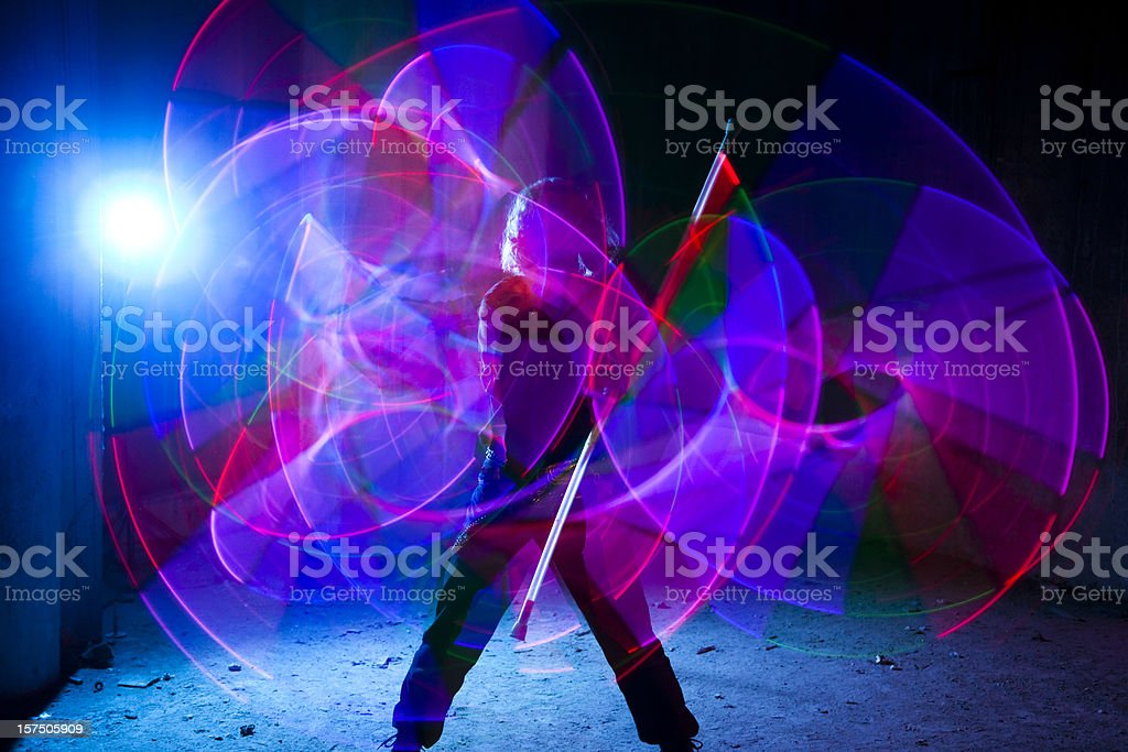 Light Dancer in motion stock photo