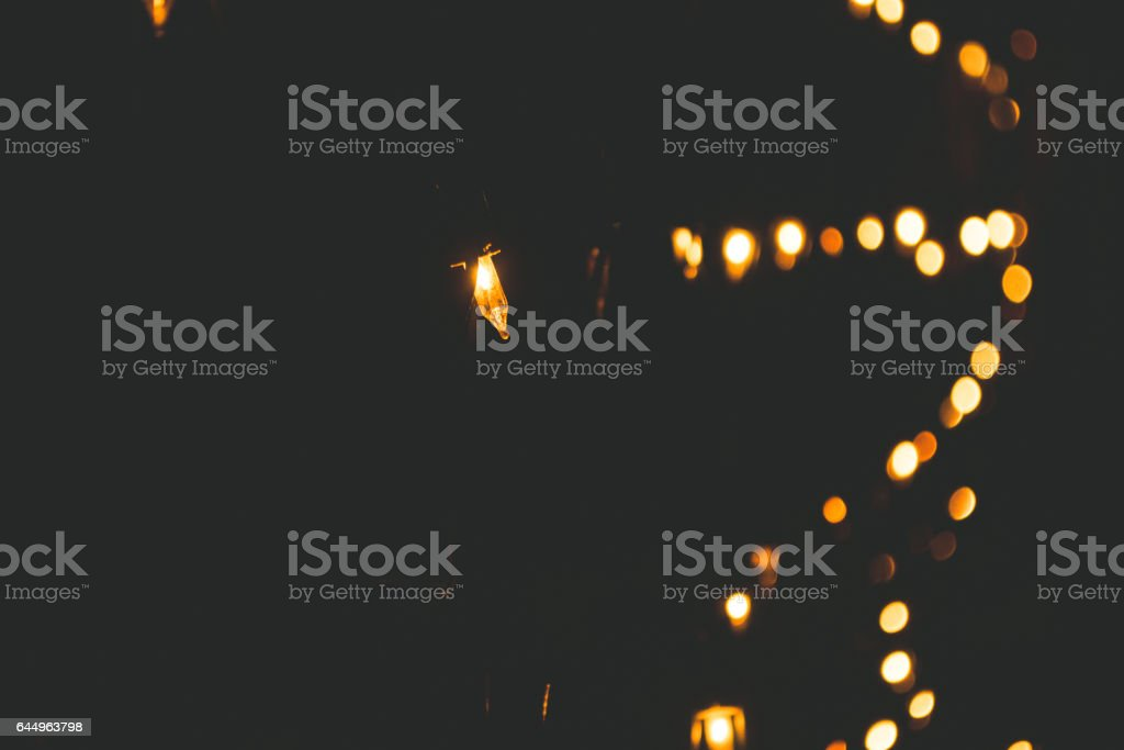 Light effect from garland stock photo