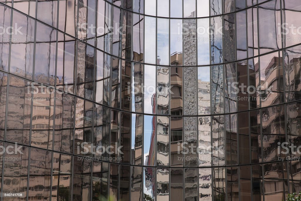 Light effects and reflexions in La Défense stock photo