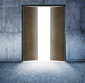 Light Filtering Through Open Doors Leading To Outside