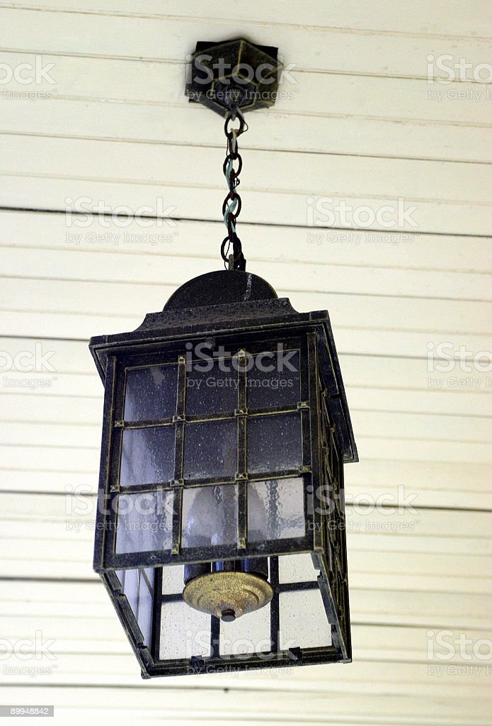 light fixture on porch stock photo