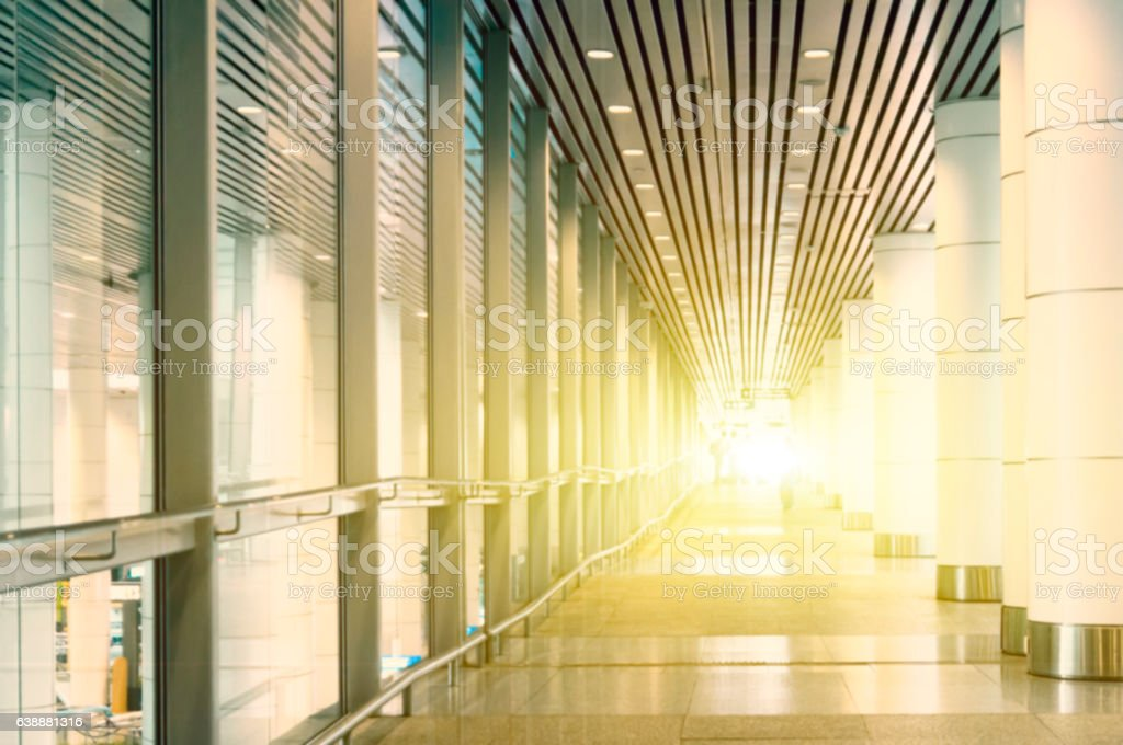 Light flare through the building stock photo