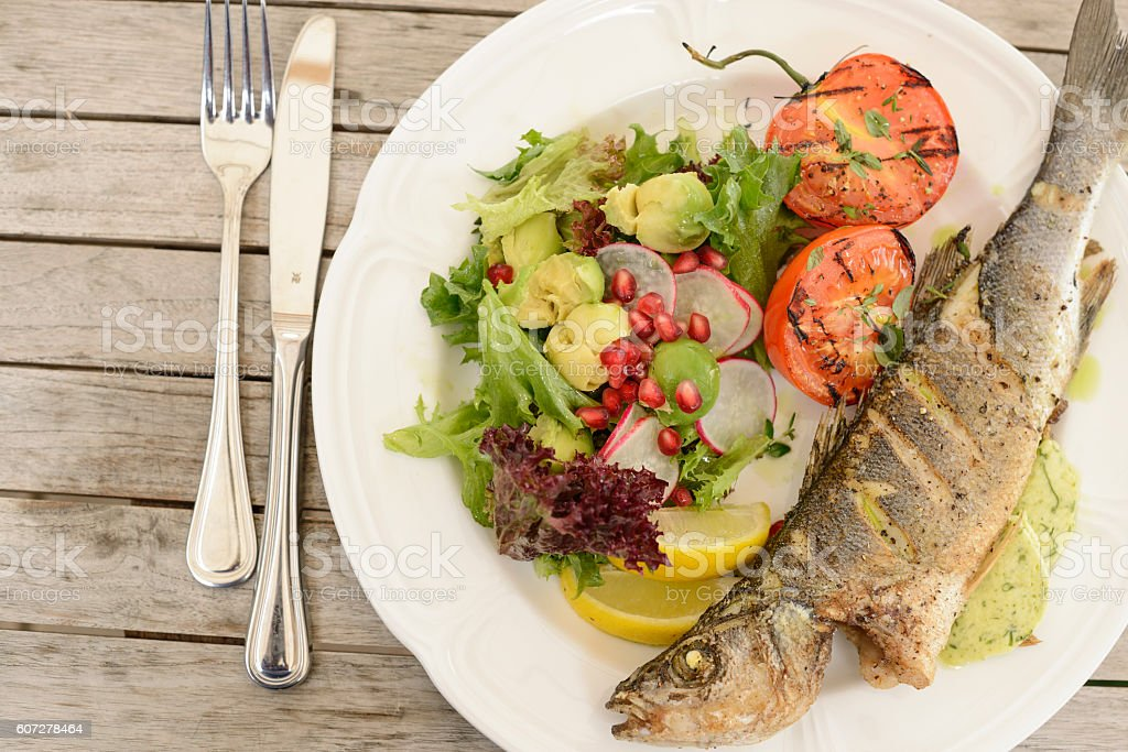 Light food, fish, white meat, white fish, food Photography stock photo