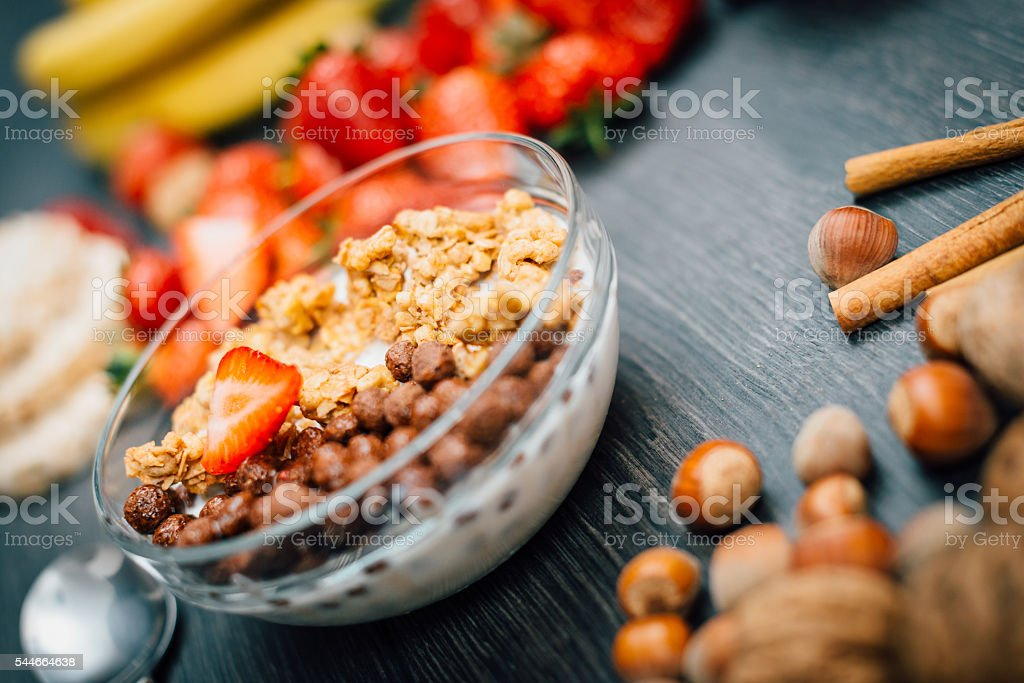 Light food for beakfast with cereals and fruit stock photo