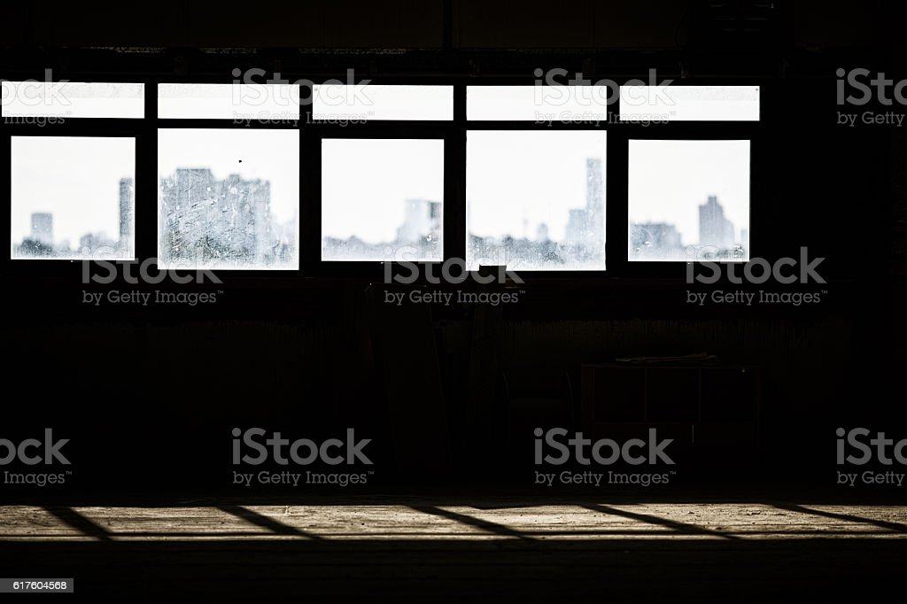 light from windows on a building site stock photo