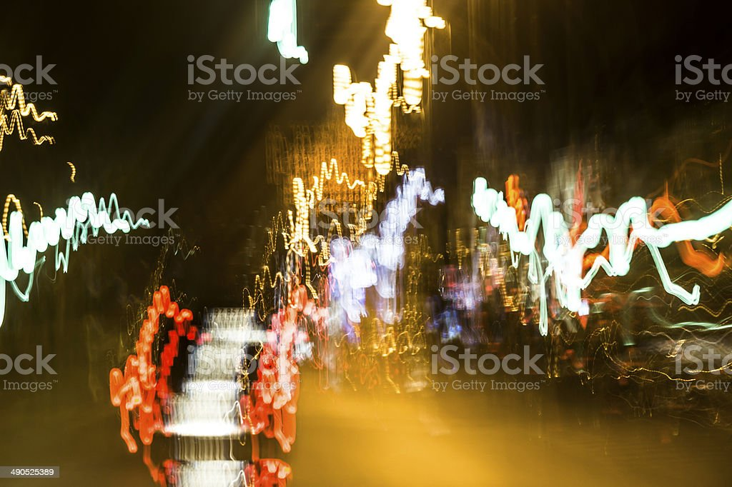 Light Game - light trails on night in Florence stock photo