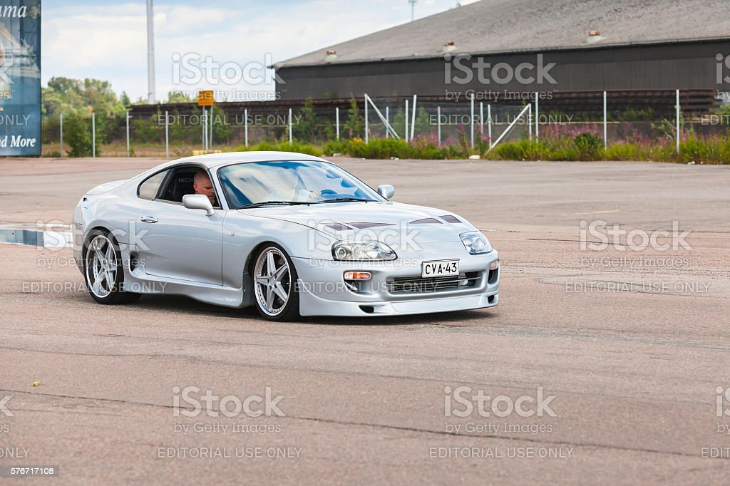 Light gray metallic Toyota Supra A80 stock photo