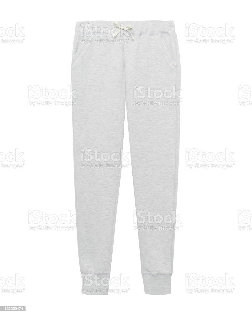 Light gray sport sweatpants isolated white stock photo