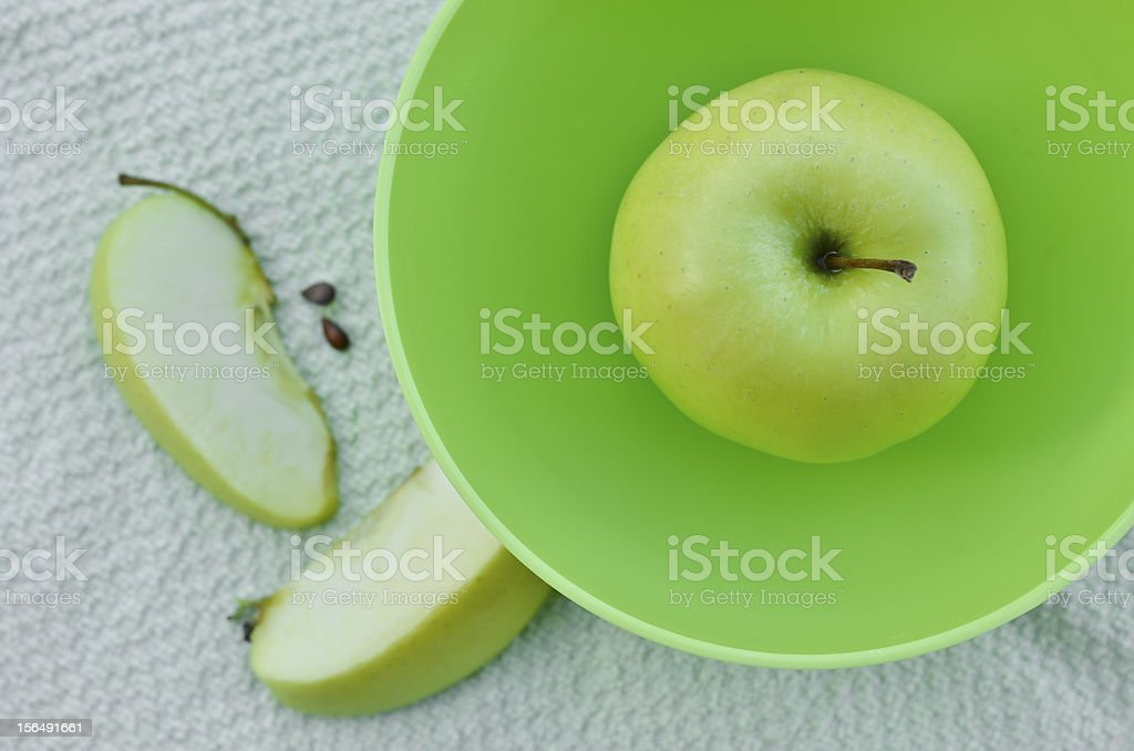 Light green apple in a bowl royalty-free stock photo