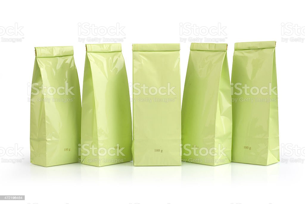 Light green packages stock photo