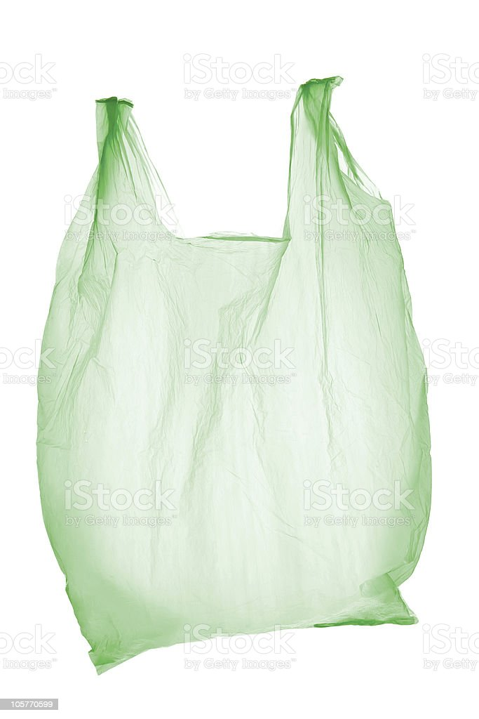 A light green plastic bag with two handles stock photo