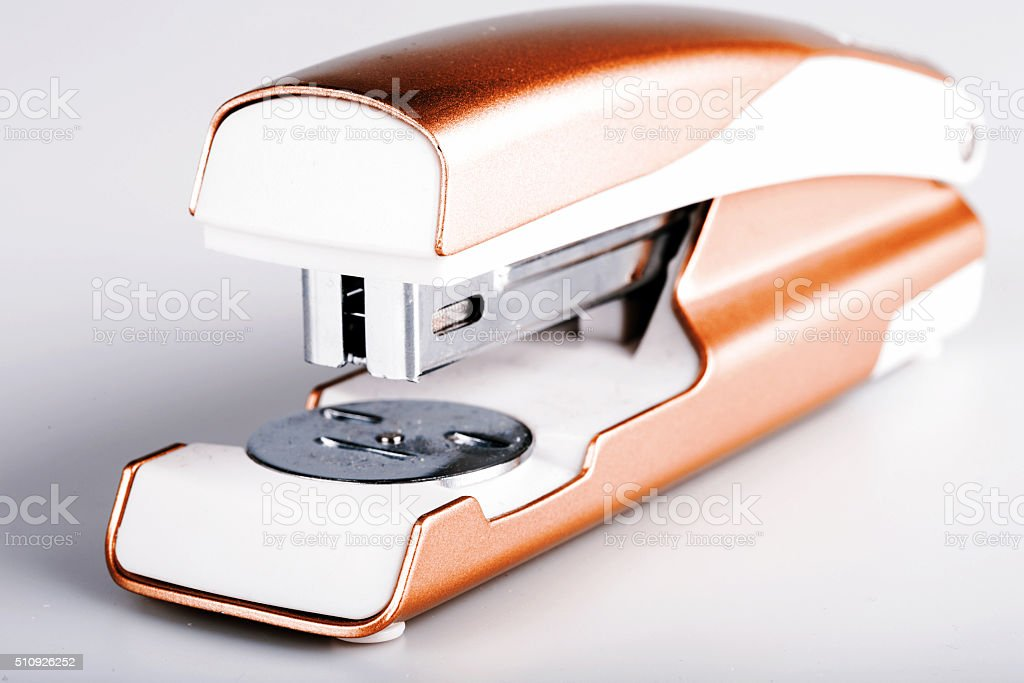 Light green stapler isolated on white stock photo