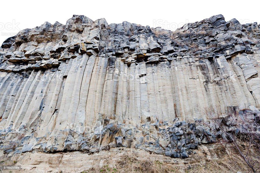Light grey basalt columns Racos stock photo