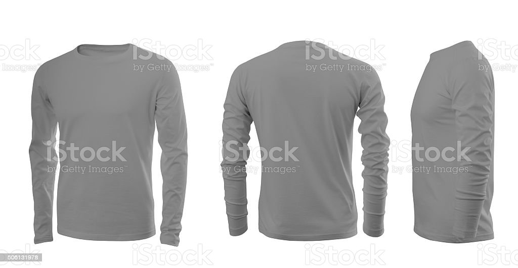Light grey man's T-shirt with long sleeves stock photo