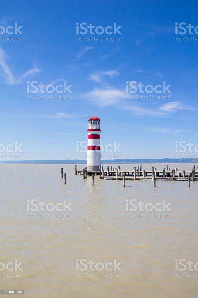 Light House In Podersdorf At Lake Neusiedl In Austria stock photo