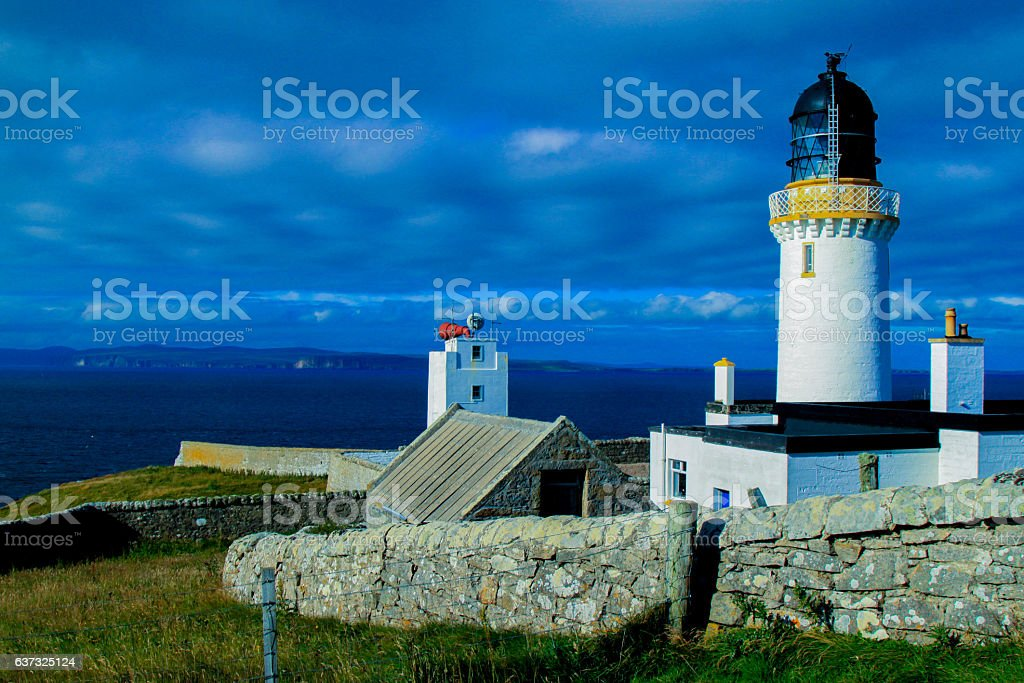 light house in scotland dunnet head northern point of UK stock photo