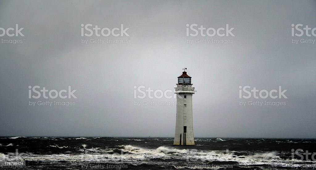 Light House In Storm stock photo