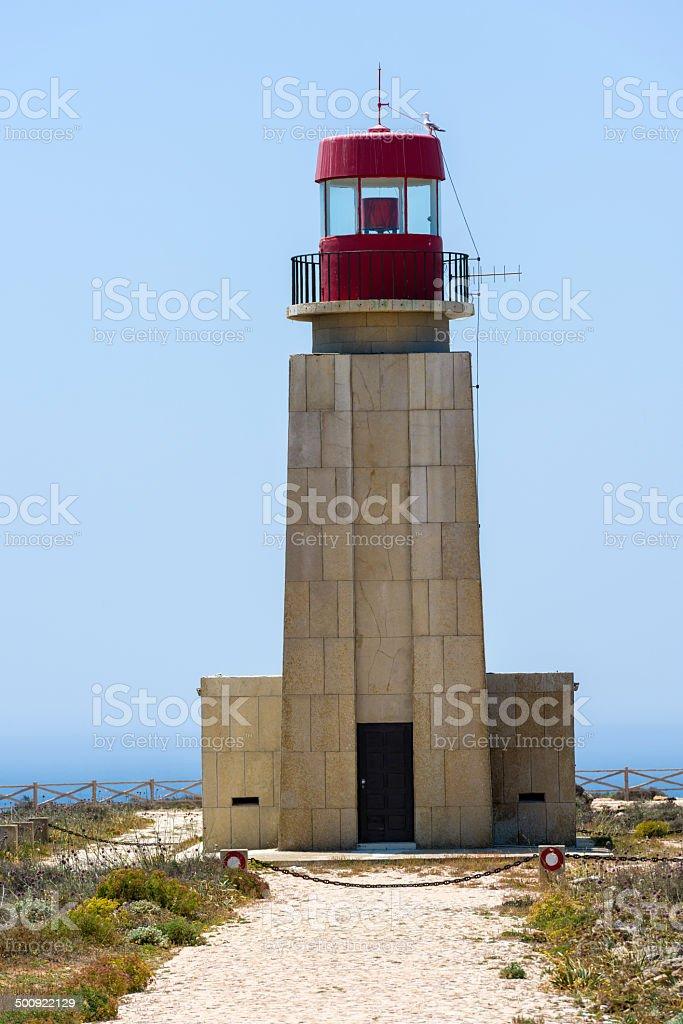 Light house of Fortaleza de Sagres in Portugal stock photo