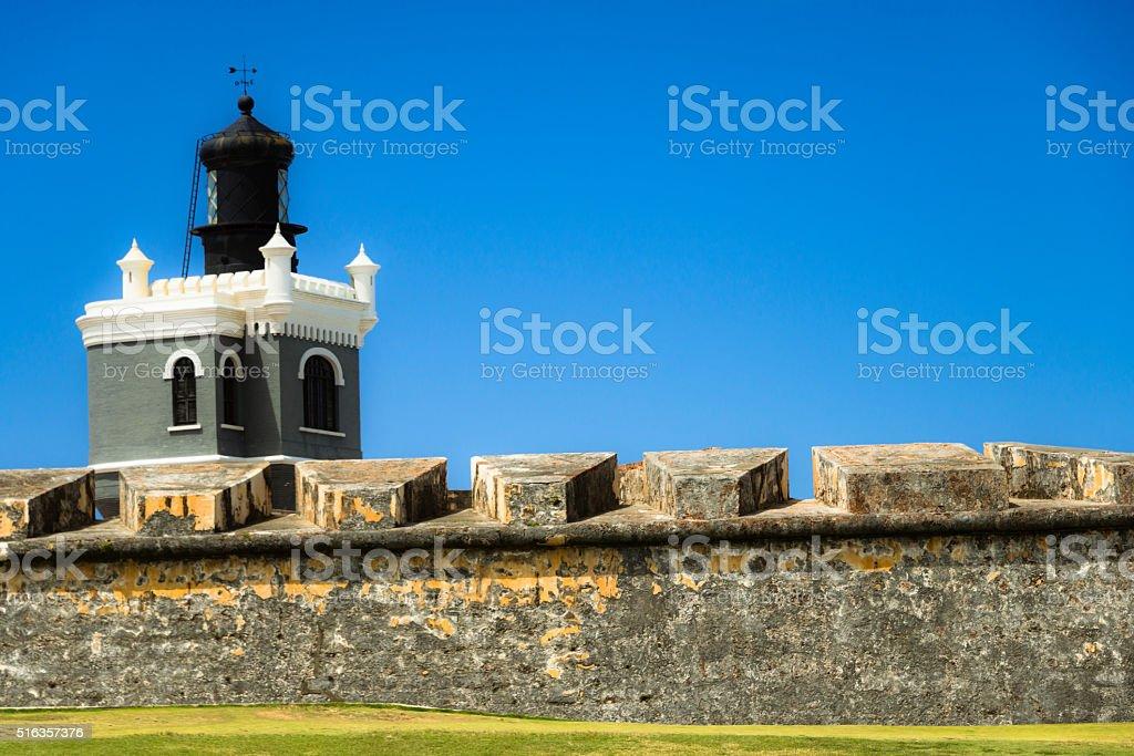 Light house of Morro Castle, Old San Juan, Puerto Rico stock photo