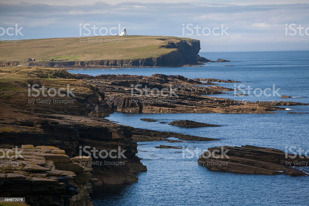 light house on Brough of Birsay, orkney stock photo