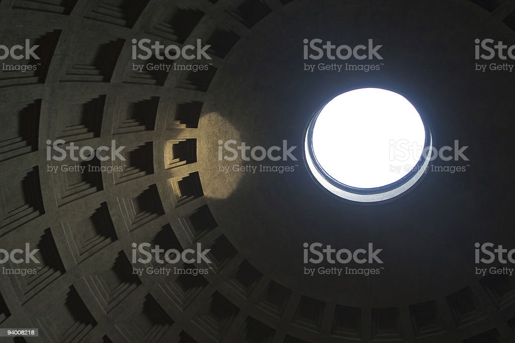 Light in the hole of Pantheon ceiling royalty-free stock photo
