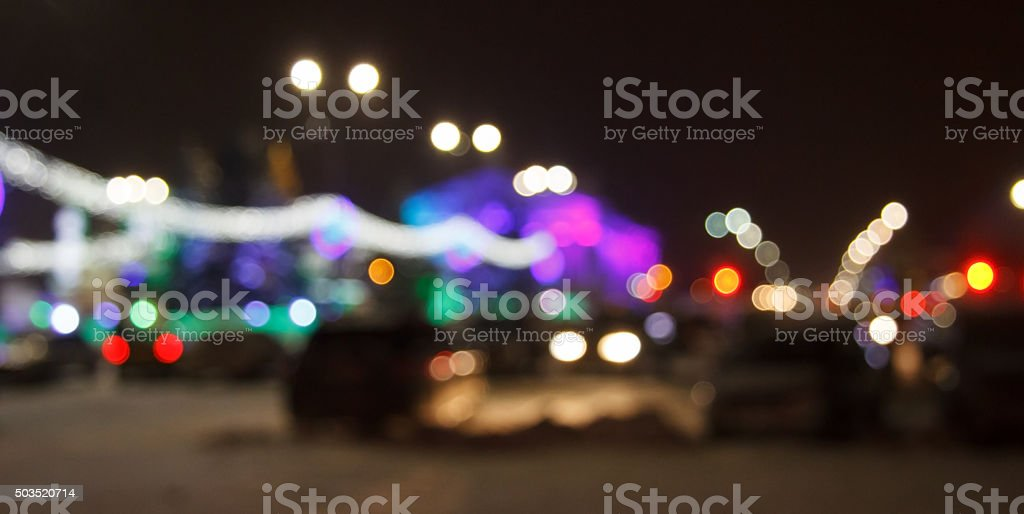 Light in the night city in not focus. royalty-free stock photo