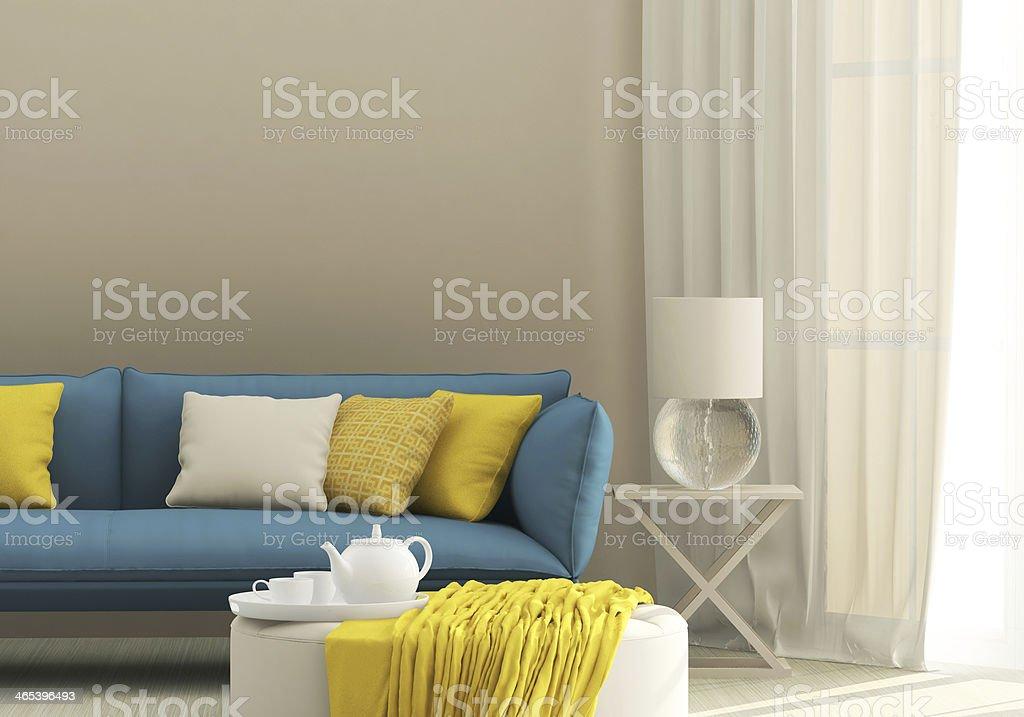 Light interior with blue sofa stock photo