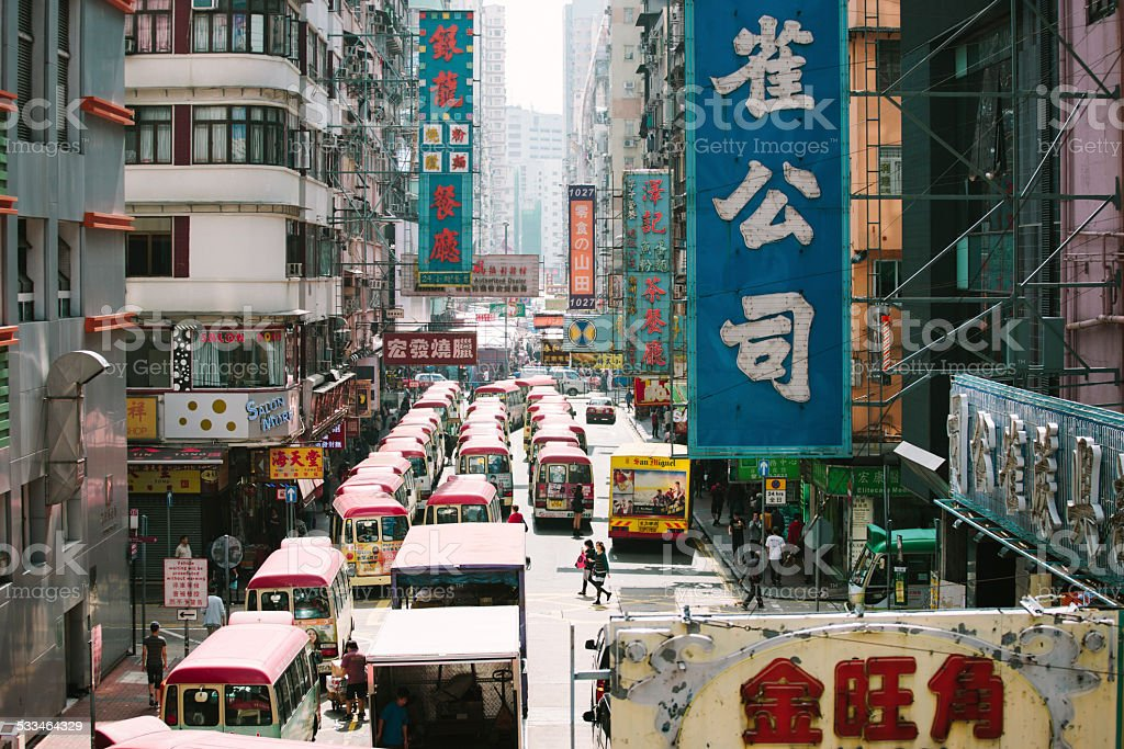 Light minibuses queue in Mong Kok, Hong Kong stock photo