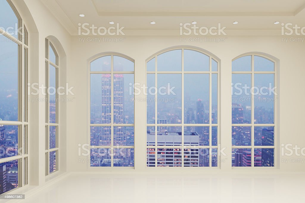 Light modern interior in the room with city view stock photo