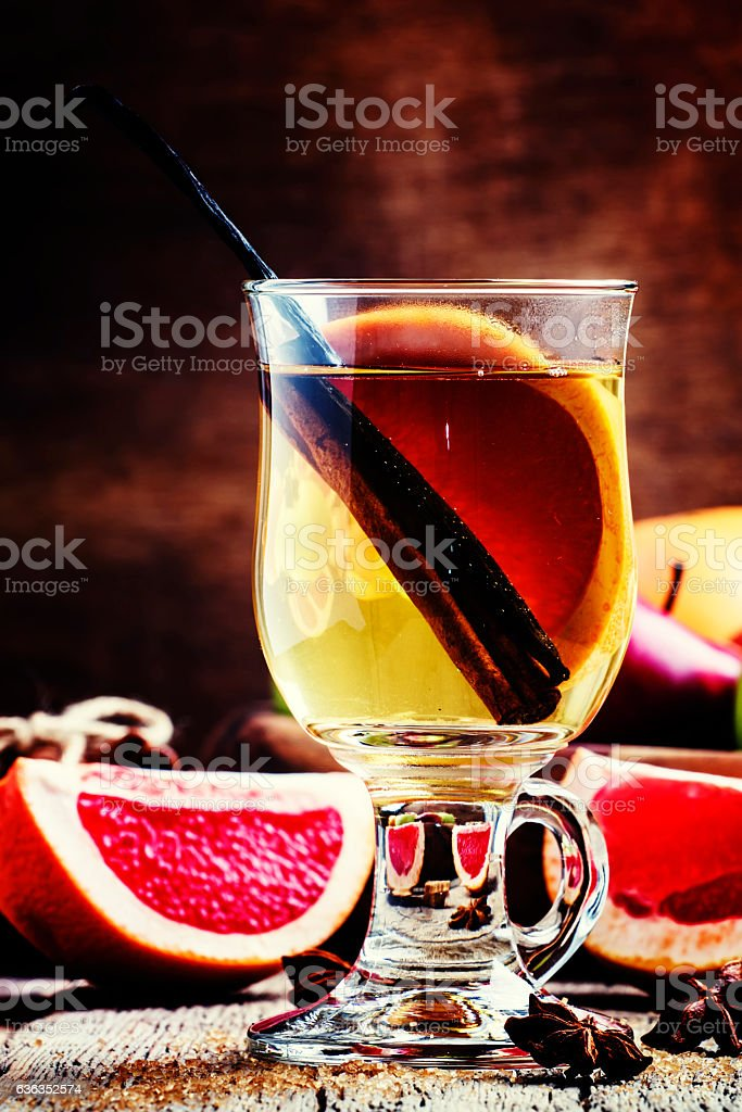 Light mulled wine with dry white wine, stock photo