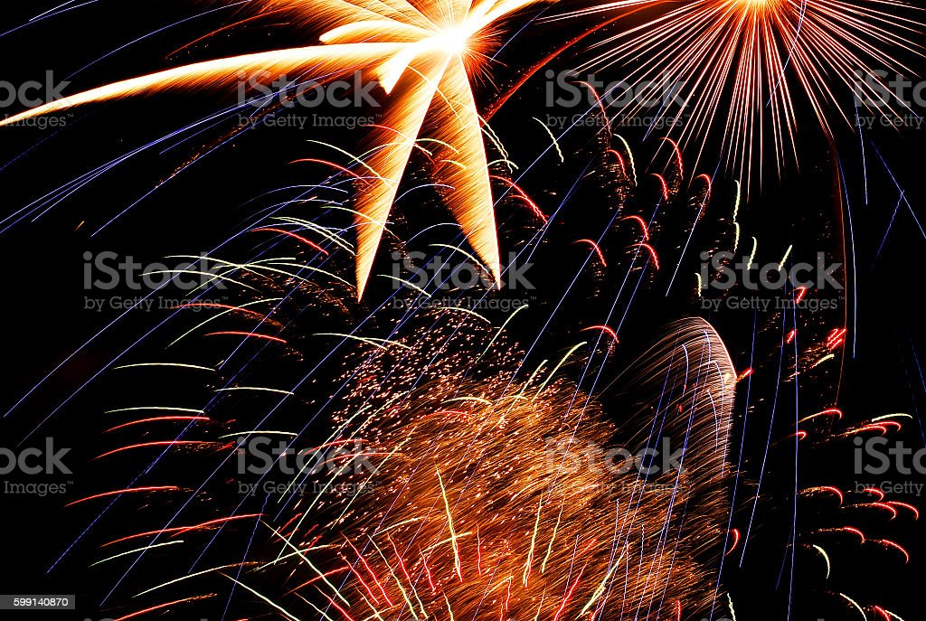 light of firework 4th of July 1999 stock photo