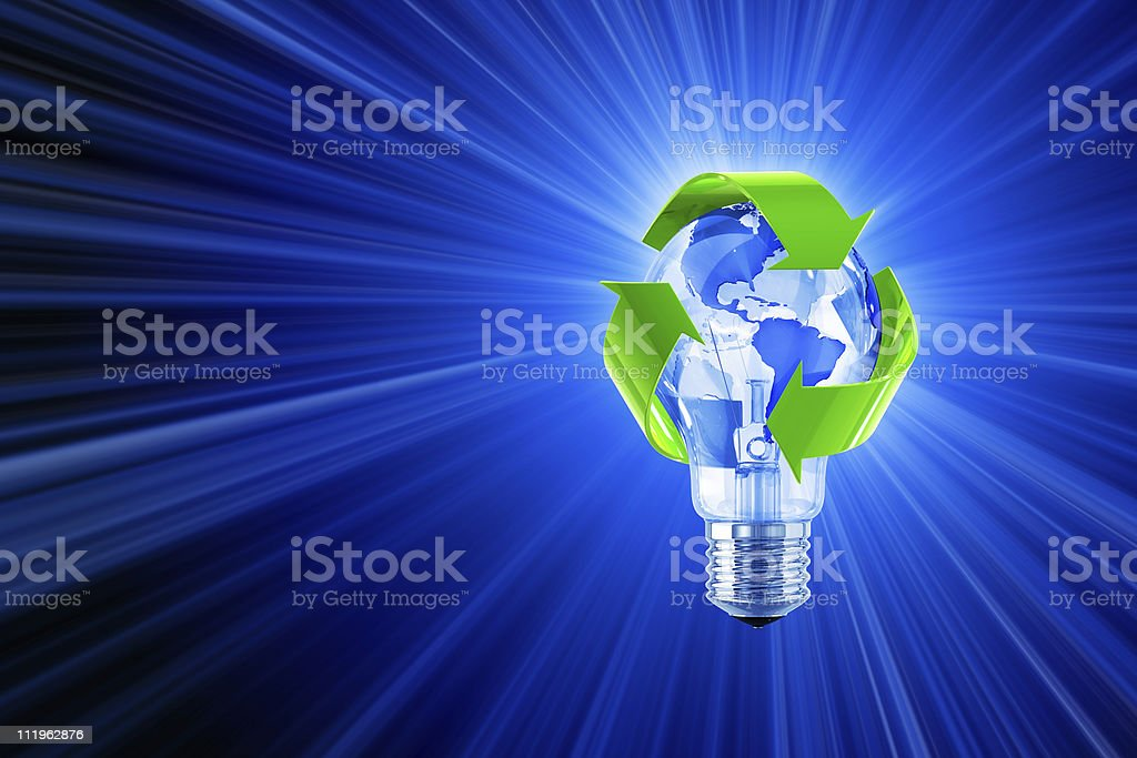Light of Recycling Global Idea stock photo