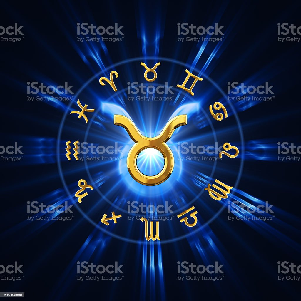Light Of Zodiac Taurus stock photo