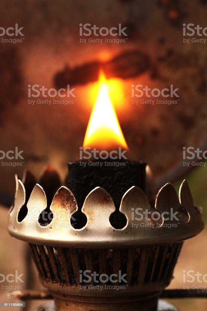 light oil lamp stock photo