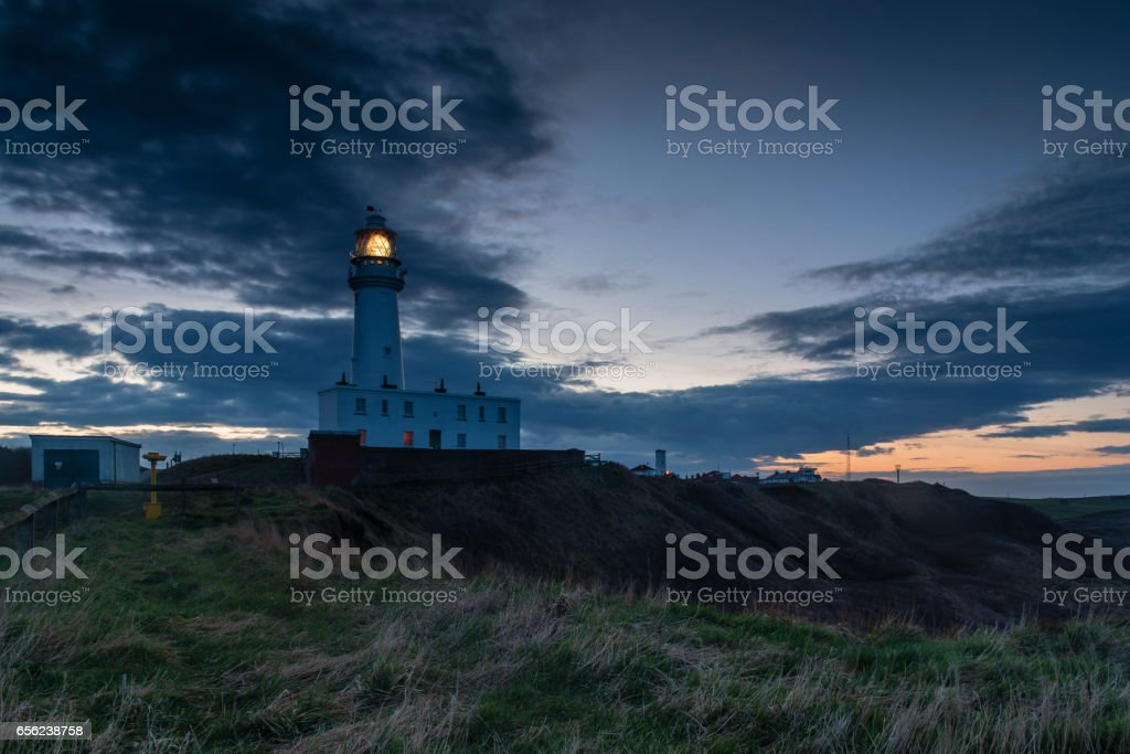 Light on Flamborough Head Lighthouse stock photo