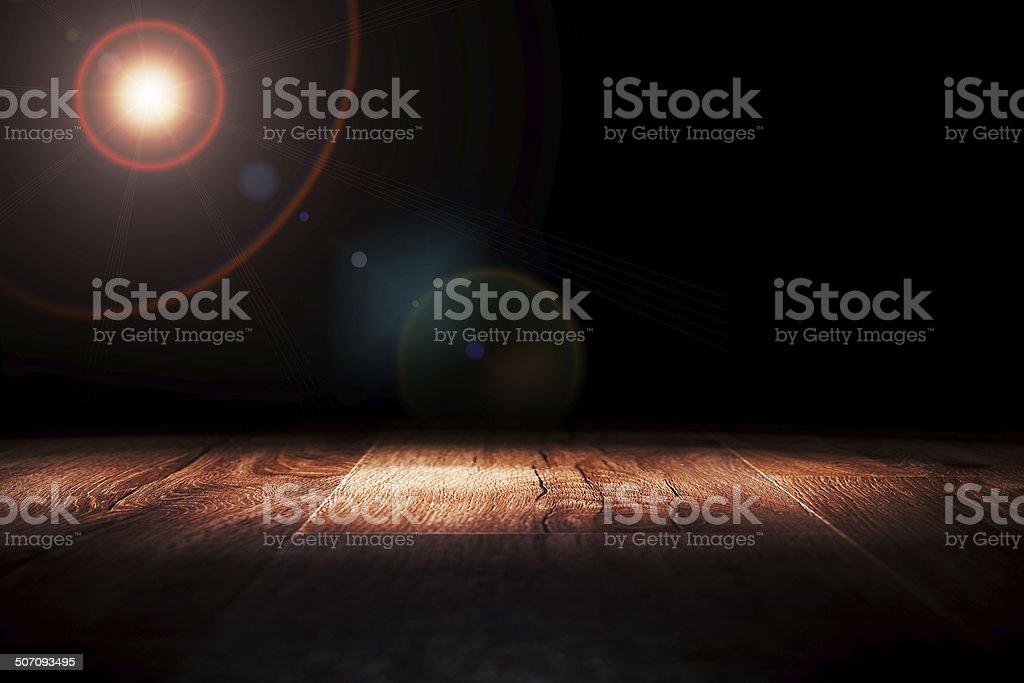 Light on wooden floor in empty room stock photo
