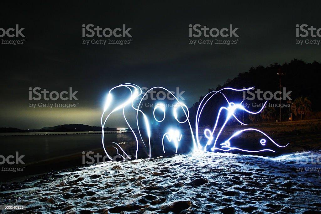 Light Painted Octopus stock photo