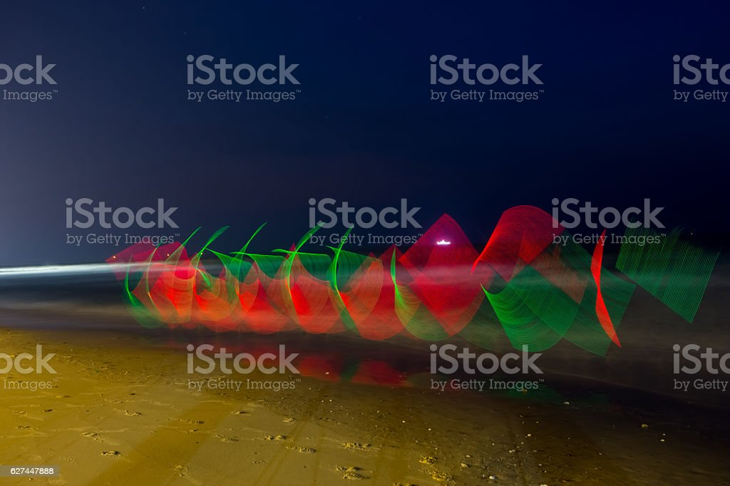 LED light painting at out door stock photo