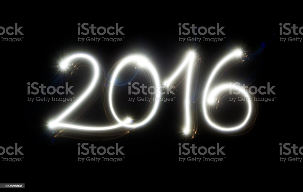 Light painting Happy New Year 2016 stock photo