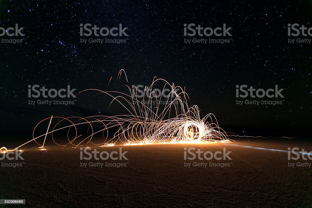 Light painting monument and stars stock photo