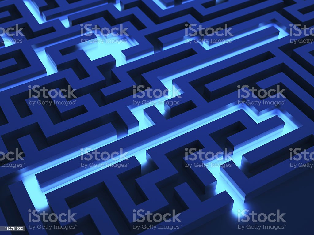 Light path across a labyrinth royalty-free stock photo