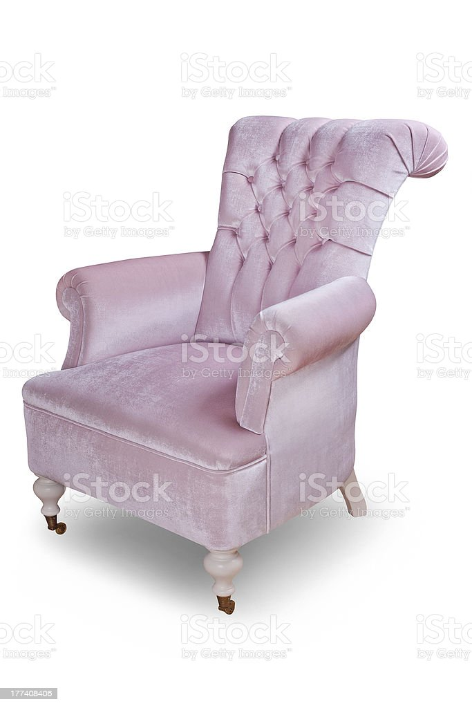 light pink quilted velvet vintage armchair with clipping path royalty-free stock photo
